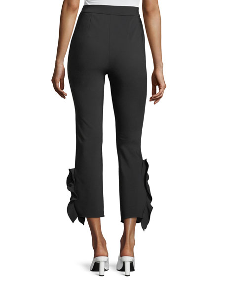 William High-Waist Cropped Flounce Hem Pants