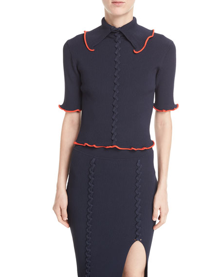 Opening Ceremony Collared Crisscross Short-Sleeve Rib-Knit Top