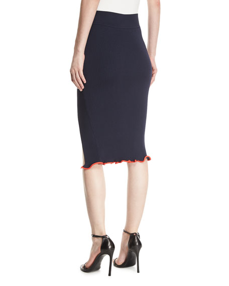 Crisscross Rib-Knit Pencil Skirt