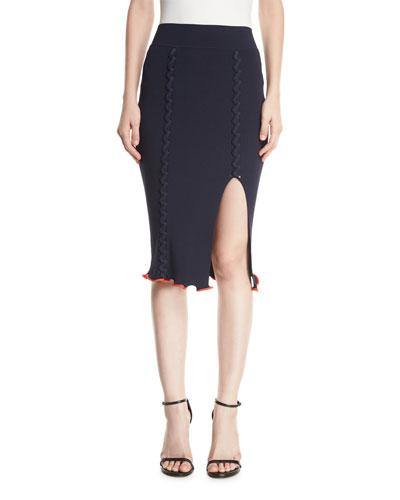 Crisscross Rib-Knit Pencil Skirt