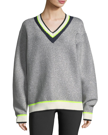 Disco Sport V-Neck Metallic Sweater