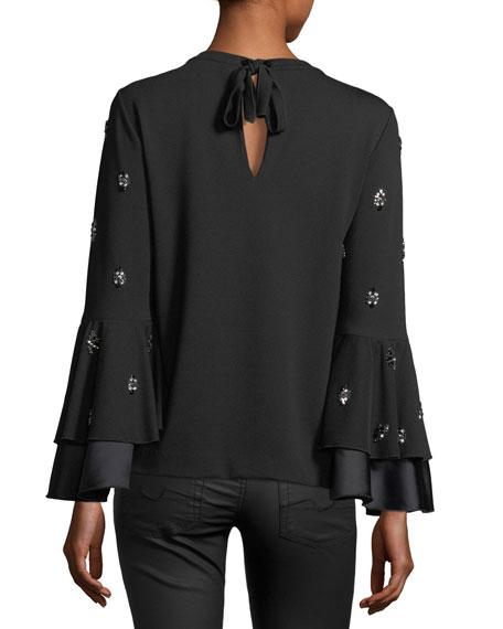Mylene Embellished Bell-Sleeve Blouse