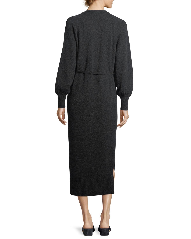 5aafc9ab01d06 Vince Side-Slit V-Neck Wool-Cashmere Long Dress | Neiman Marcus