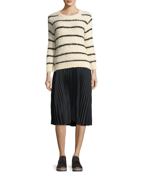 Fuzzy Striped Knit Crewneck Sweater