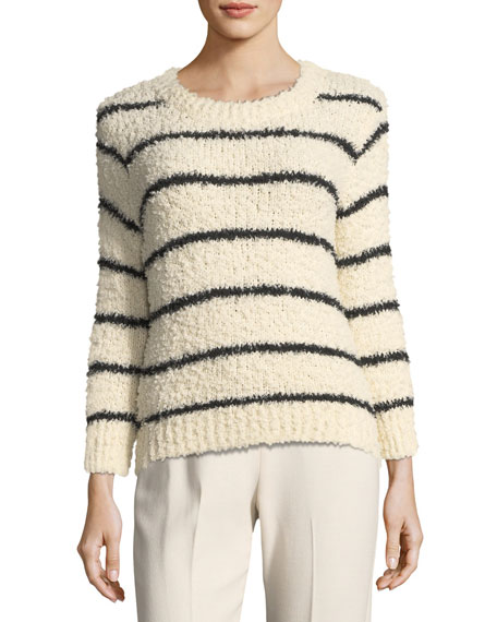 Vince Fuzzy Striped Knit Crewneck Sweater and Matching