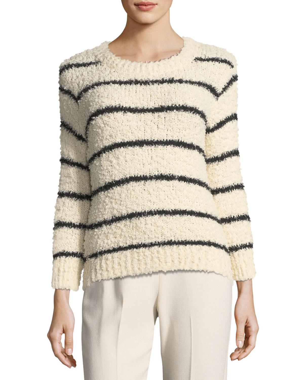 696ca2267 Vince Fuzzy Striped Knit Crewneck Sweater