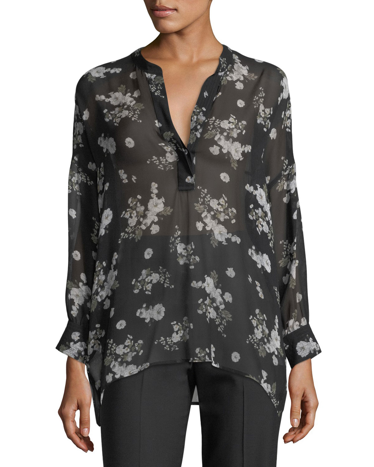 f356726137b2f Vince Tossed Floral-Print Shirred Sheer Silk Blouse and Matching ...