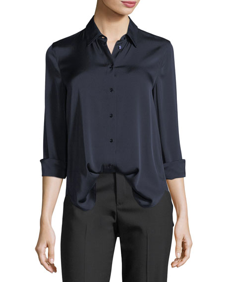 Slim Button-Front Silk Satin Blouse