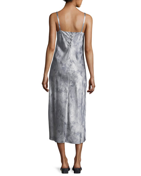 Watercolor Marble Shirred-Neck Camisole Dress