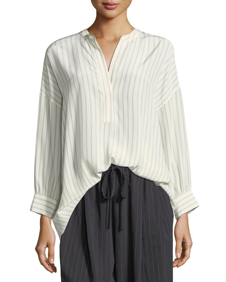 Vince Double-Stripe Shirred Back Silk Blouse