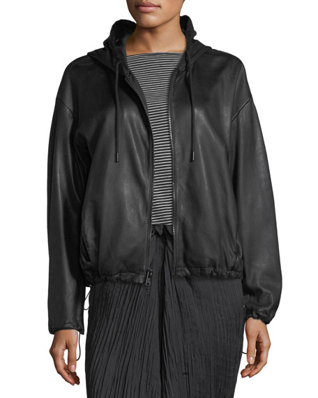 Lamb Leather Drawstring Zip-Front Hooded Jacket