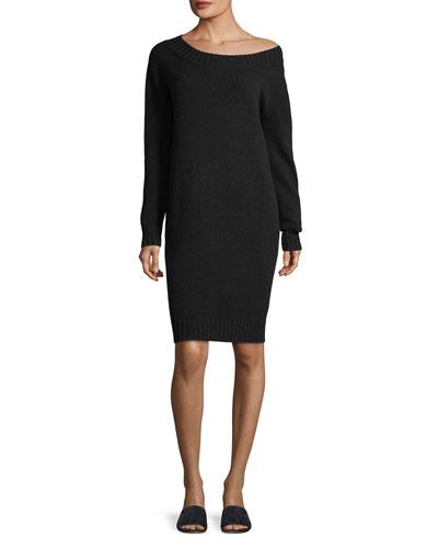 Off-the-Shoulder Long-Sleeve Wool-Cashmere Dress