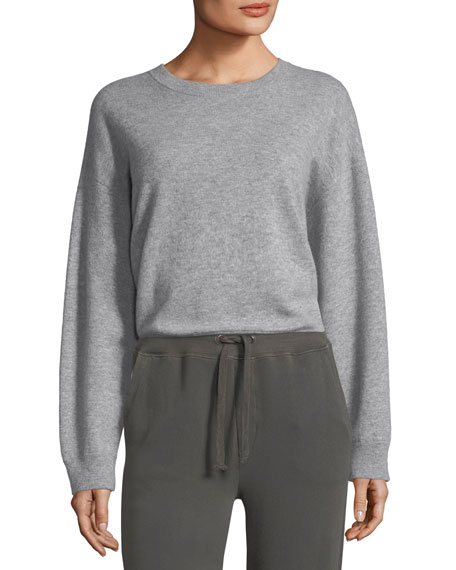 Double-Layer Cashmere Cotton Crewneck Pullover Sweatshirt