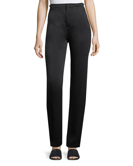 Woman Satin-Crepe Straight-Leg Pants Black from THE OUTNET.COM