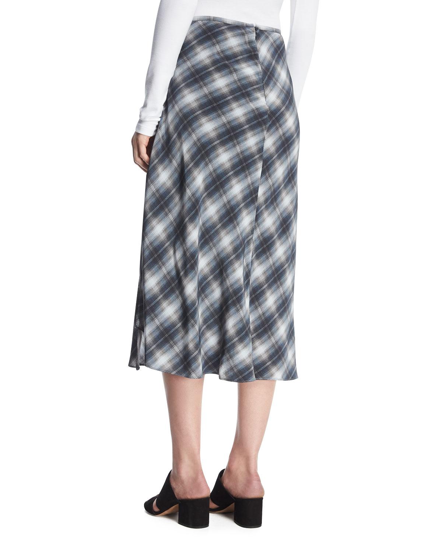 8c97aa29b9dc89 Vince Shadow Plaid Side-Drape A-Line Midi Skirt   Neiman Marcus