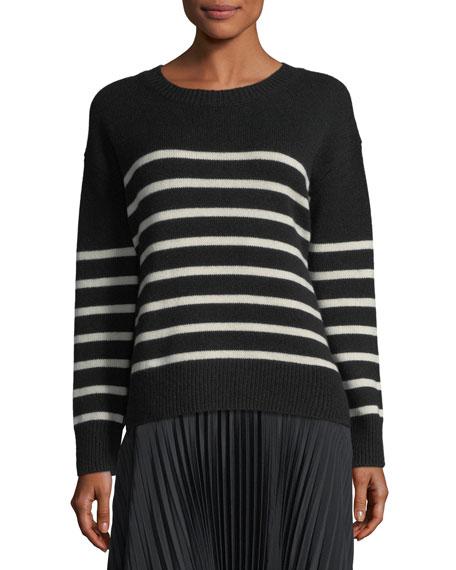 Striped Boxy Crewneck Cashmere Sweater w/ Tie
