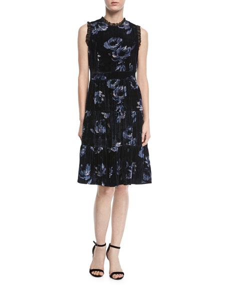 night rose ruffle-trim velvet dress