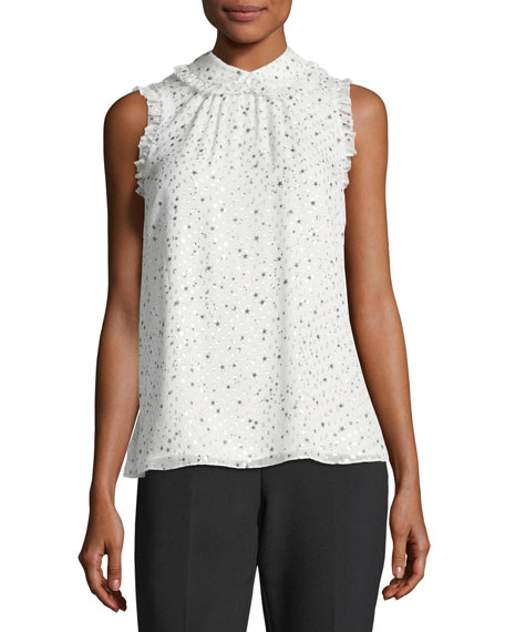 night sky sleeveless metallic dot top
