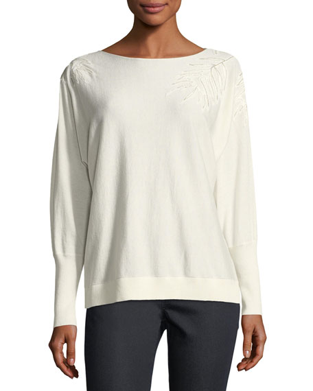 Lafayette 148 New York Cashmere-Blend Leaf-Embroidered Sweater