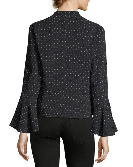 Kayden Bell-Sleeve Dot-Print Jacket