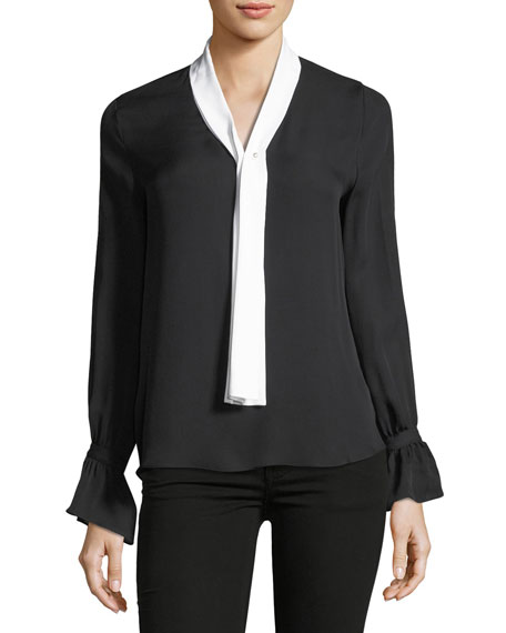 Amber Contrast-Tie Silk Blouse