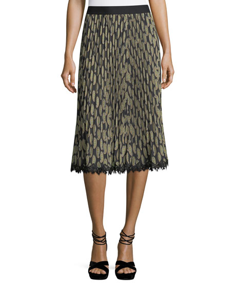 Kobi Halperin Viola Pleated Paisley-Print Skirt and Matching