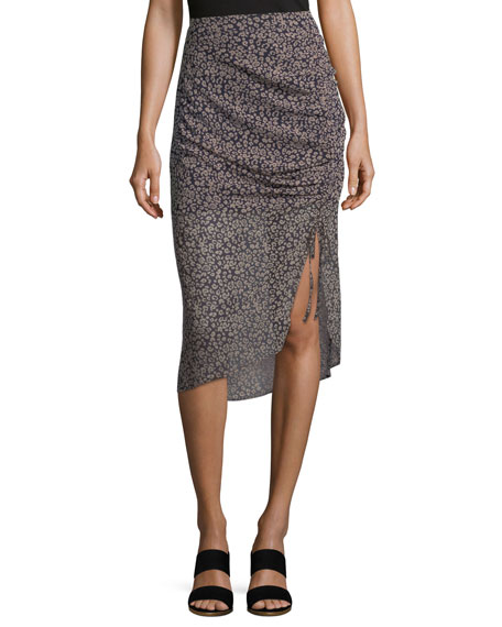 Amaya Gathered Leopard-Print Skirt