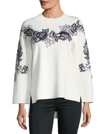 Kobi Halperin Alyson Wool-Blend Embroidery Sweater