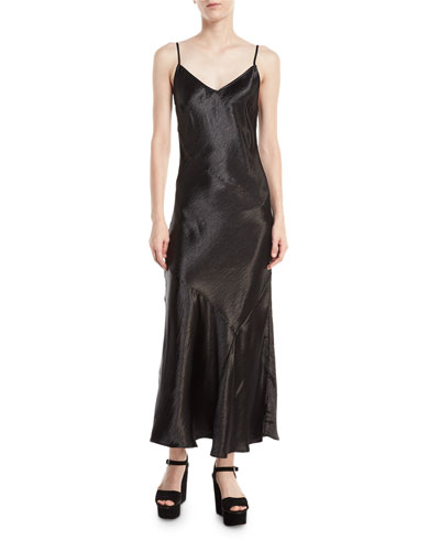 Max Sleeveless V-Neck Bias-Cut Satin Slip Dress