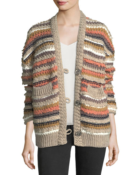 MiH Martello Striped Button-Front Cable-Knit Cardigan