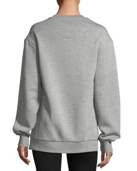 Mente Beast-Print Silk-Panel Sweatshirt