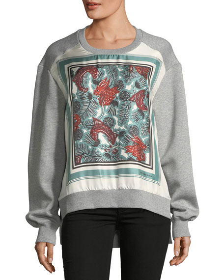 Burberry Mente Beast-Print Silk-Panel Sweatshirt