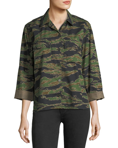 MiH Tiger-Camo Button-Front Boxy Shirt