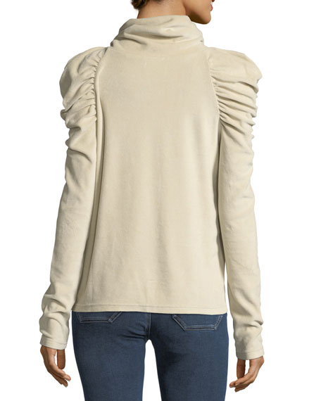 Turtleneck Pouf-Shoulders Long-Sleeve Top