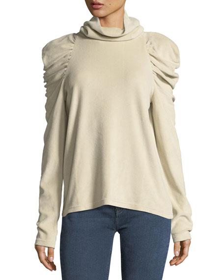 MiH Turtleneck Pouf-Shoulders Long-Sleeve Top