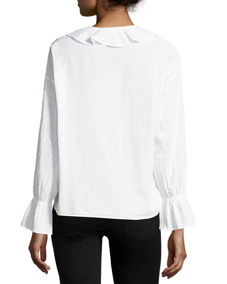 Frill-Collar Button-Front Fil-Coupe Cotton Shirt