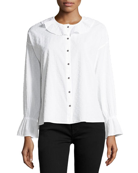 MiH Frill-Collar Button-Front Fil-Coupe Cotton Shirt
