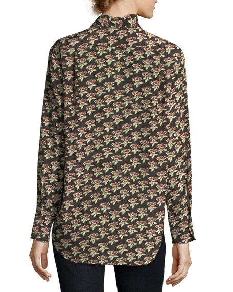 Twigs Floral-Print Button-Front Silk Shirt