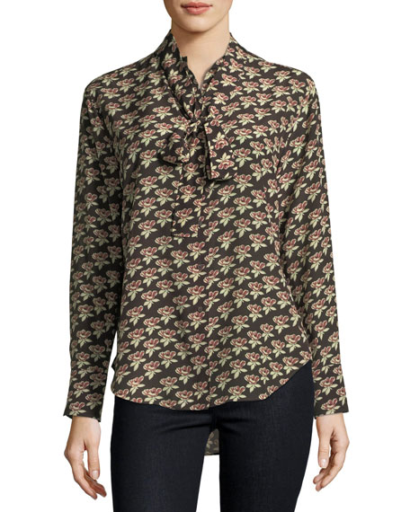 MiH Twigs Floral-Print Button-Front Silk Shirt