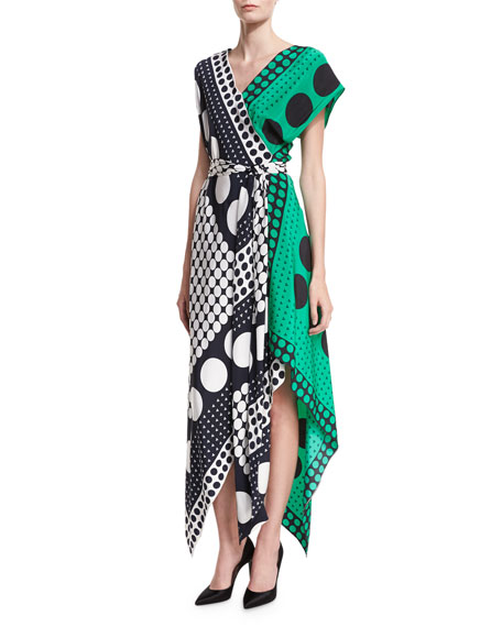 Diane von Furstenberg Dot-Print Asymmetric Cap-Sleeve Scarf Dress