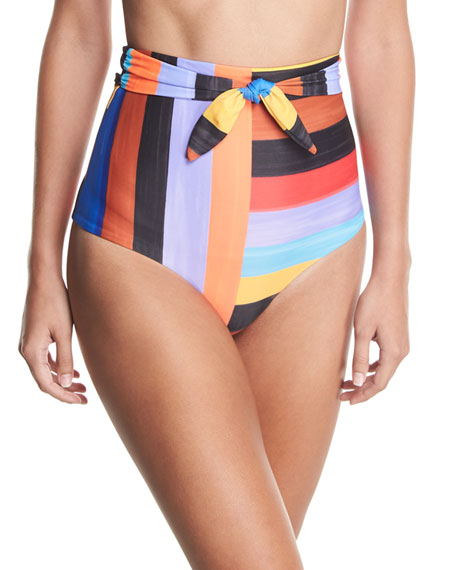 Mara Hoffman Jay Brushed Stripes High-Waist Swim Bottom