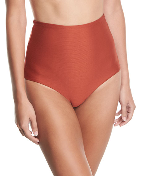 Mara Hoffman Lydia High-Waist Solid Swim Bottom