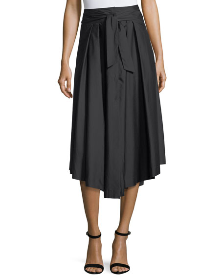 Milly Button-Front Poplin Midi Skirt