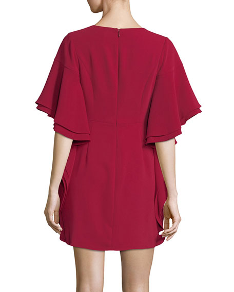 V-Neck Draped-Sleeve Mini Cocktail Dress