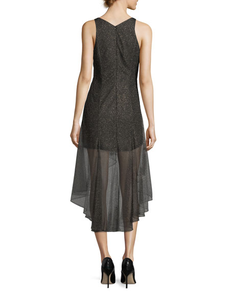 Sleeveless V-Neck Metallic Lace Cocktail Dress