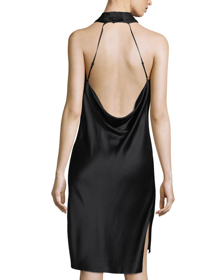 Sleeveless Halter Satin Dress w/ Strappy Cowl-Neck