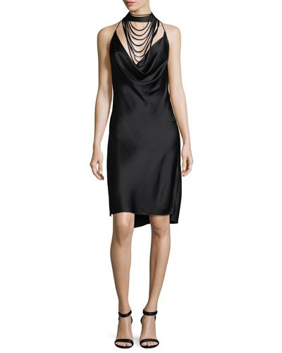 Sleeveless Halter Satin Dress w/ Strappy Cowl-Neck