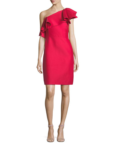 One-Shoulder Flounce Dress