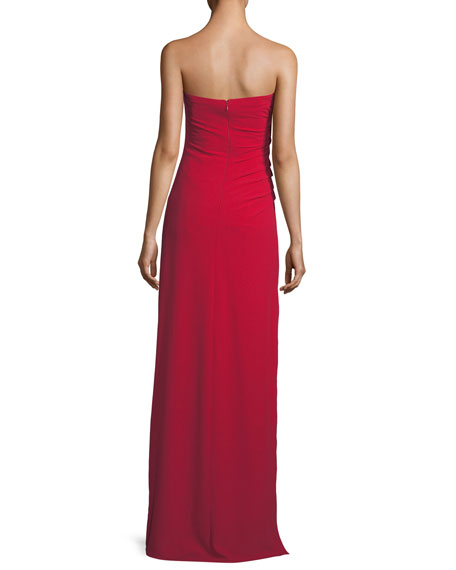 Strapless Ruched Bodice Crepe Column Evening Gown