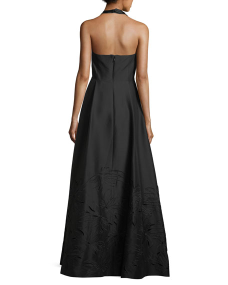 Embroidered V-Neck Halter Gown